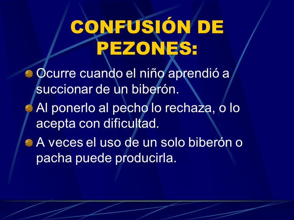 CONFUSIÓN DE PEZONES:Ocurre cuando el niño aprendió a succionar de un biberón. Al ponerlo al pecho lo rechaza, o lo acepta con dificultad.