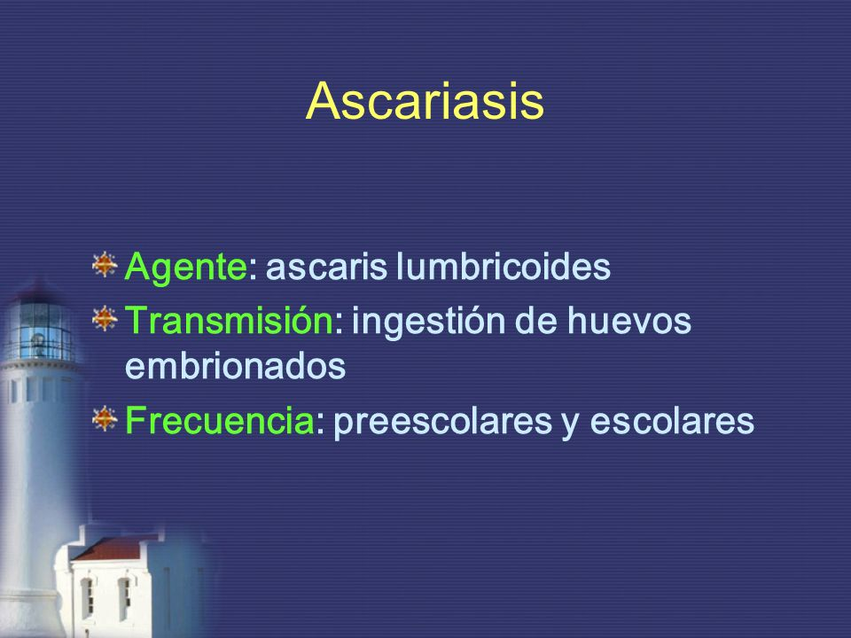 Ascariasis Agente: ascaris lumbricoides