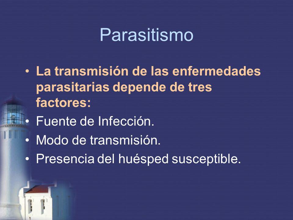 Parasitismo La transmisión de las enfermedades parasitarias depende de tres factores: Fuente de Infección.
