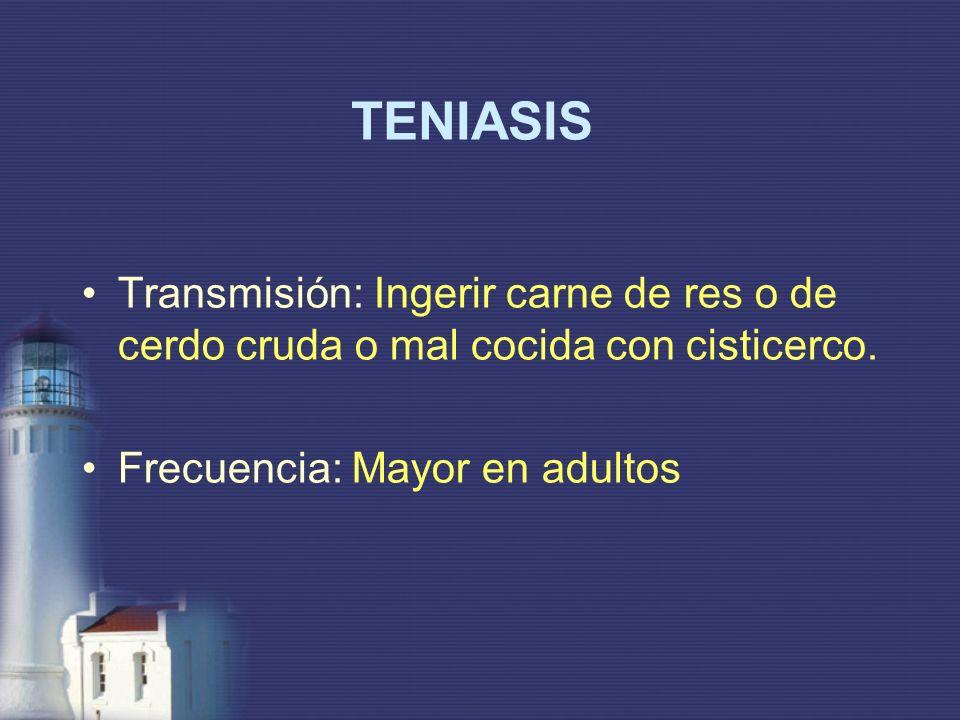 TENIASIS Transmisión: Ingerir carne de res o de cerdo cruda o mal cocida con cisticerco.