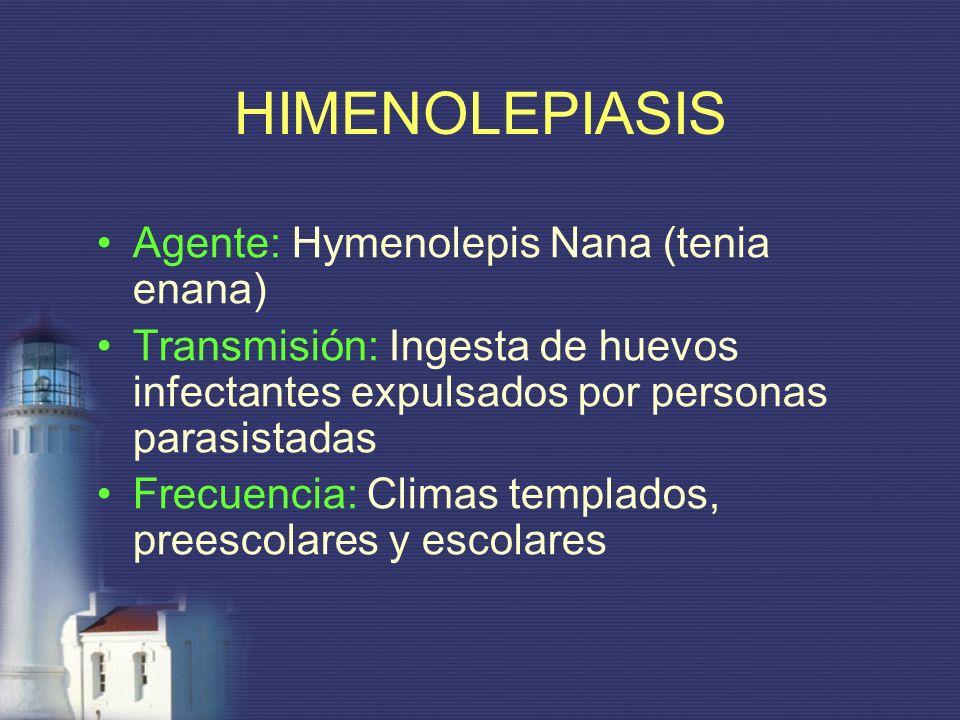 HIMENOLEPIASIS Agente: Hymenolepis Nana (tenia enana)