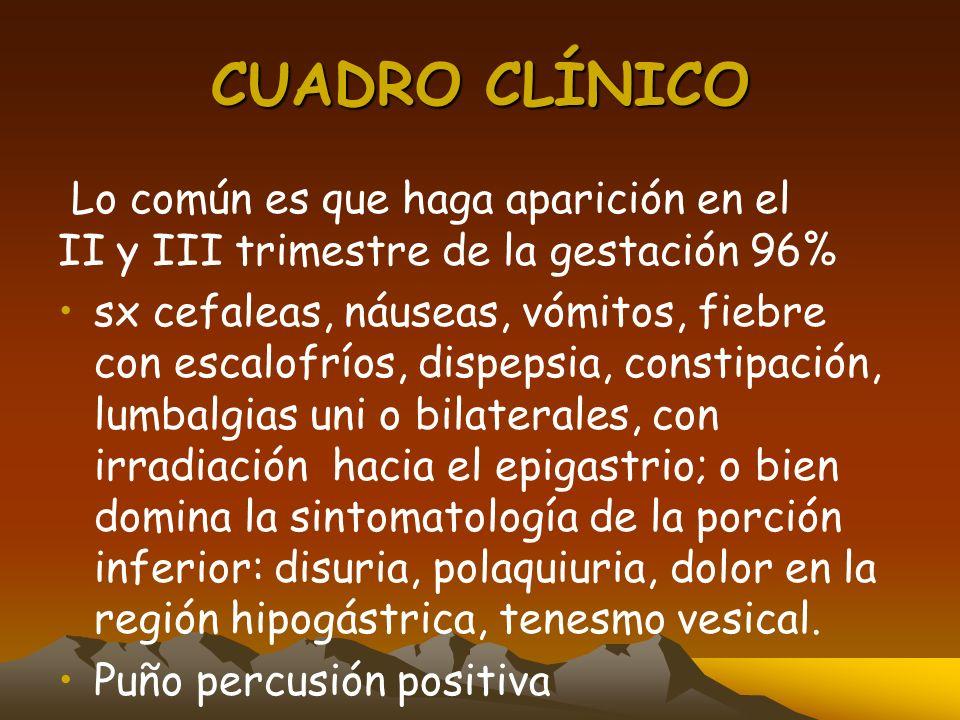 CUADRO CLÍNICOLo común es que haga aparición en el II y III trimestre de la gestación 96%