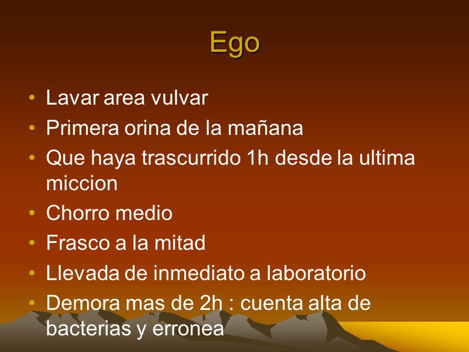 Ego Lavar area vulvar Primera orina de la mañana