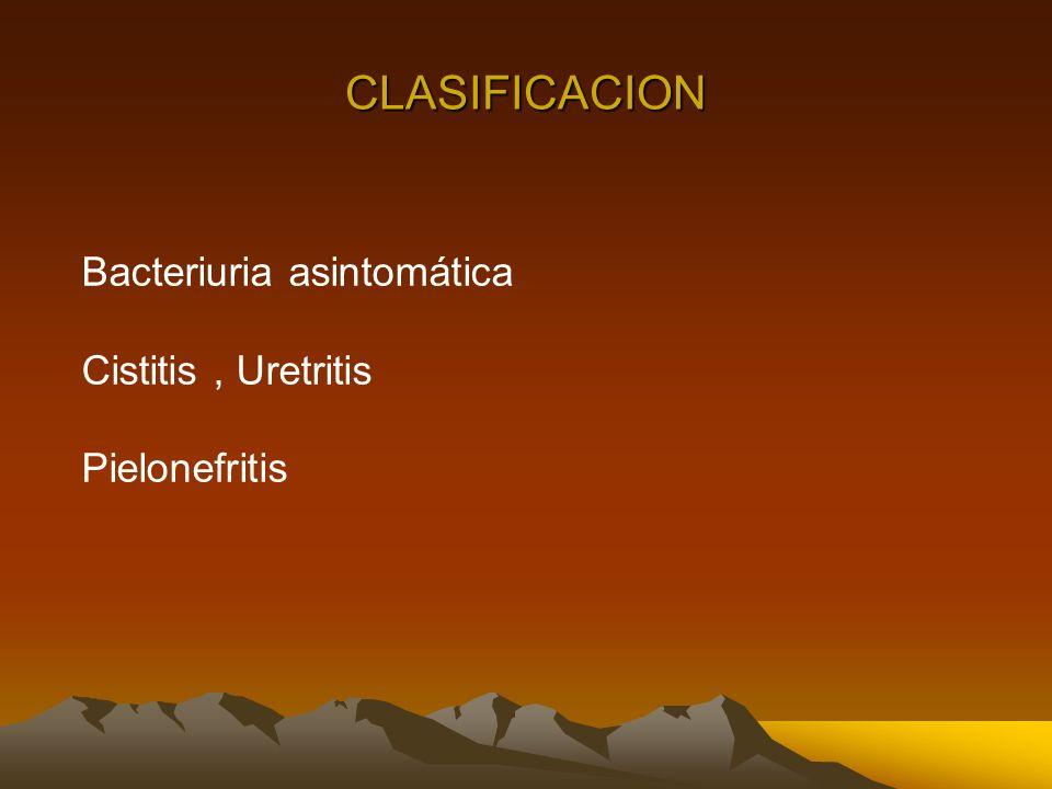 CLASIFICACION Bacteriuria asintomática Cistitis , Uretritis