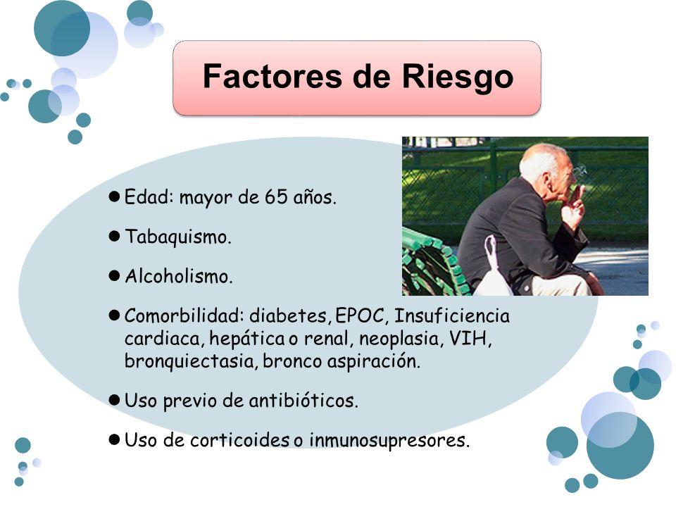 Factores de Riesgo Edad: mayor de 65 años. Tabaquismo. Alcoholismo.