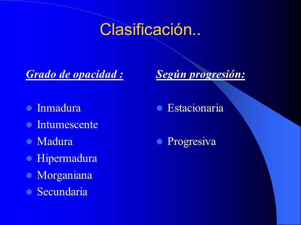 Clasificación.. Grado de opacidad : Inmadura Intumescente Madura