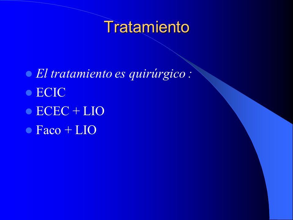 Tratamiento El tratamiento es quirúrgico : ECIC ECEC + LIO Faco + LIO