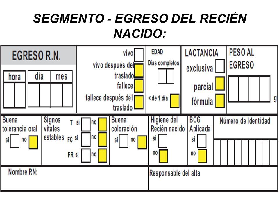 SEGMENTO - EGRESO DEL RECIÉN NACIDO: