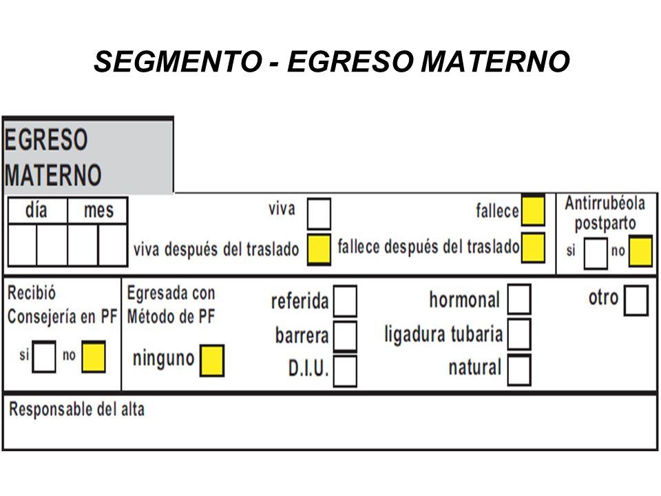 SEGMENTO - EGRESO MATERNO