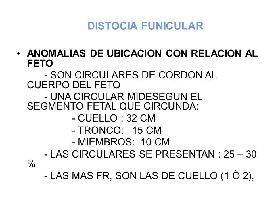 DISTOCIA FUNICULAR ANOMALIAS DE UBICACION CON RELACION AL FETO