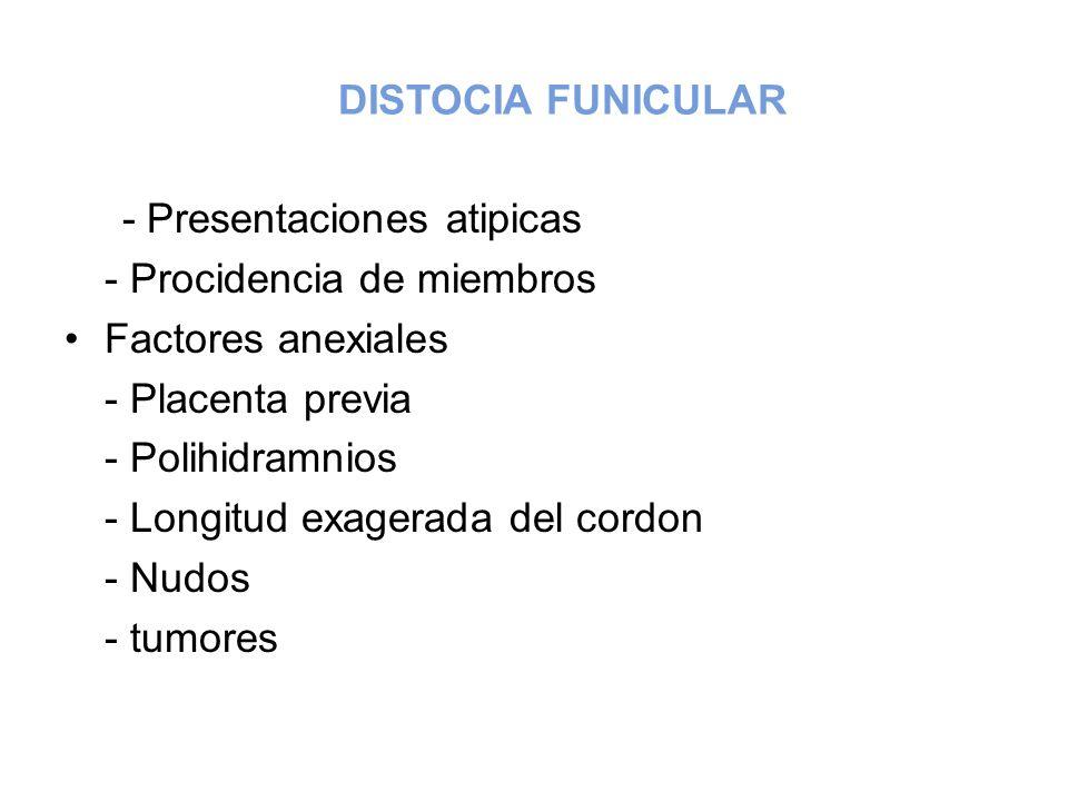 DISTOCIA FUNICULAR - Presentaciones atipicas. - Procidencia de miembros. Factores anexiales. - Placenta previa.