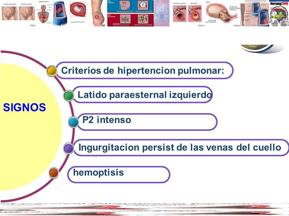 Contents SIGNOS Criterios de hipertencion pulmonar: