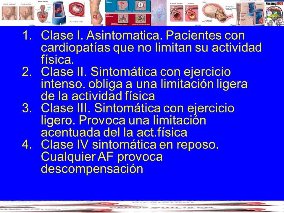 Clase I. Asintomatica. Pacientes con cardiopatías que no limitan su actividad física.
