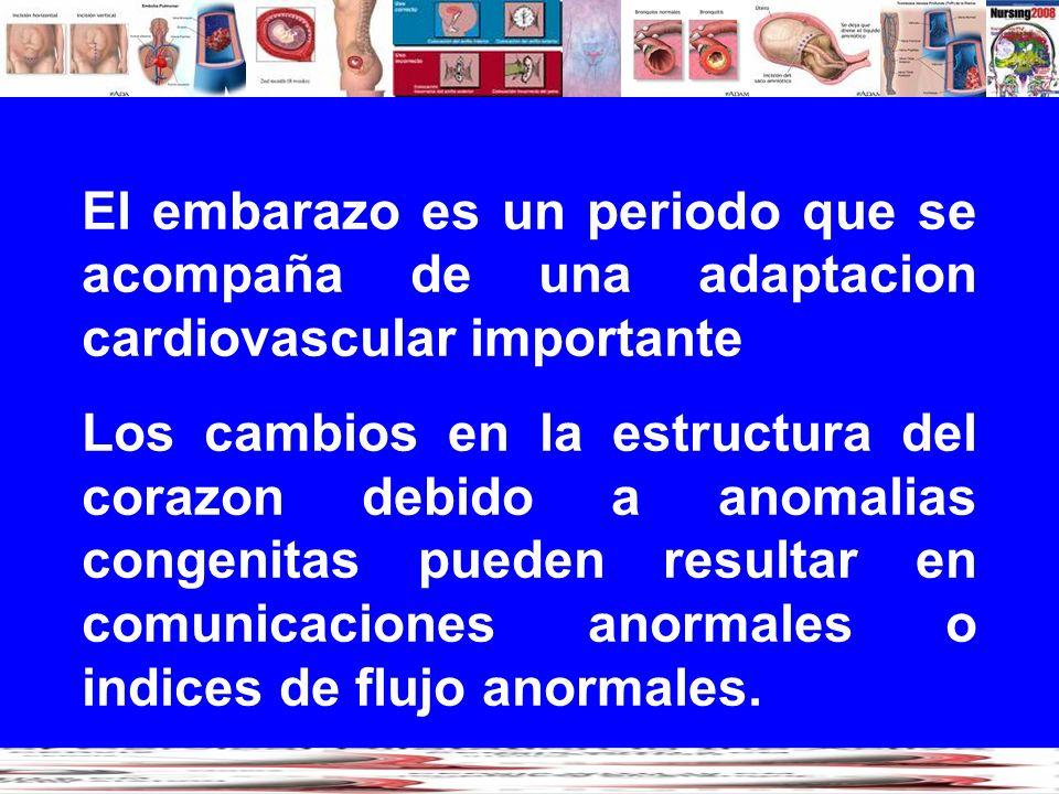 El embarazo es un periodo que se acompaña de una adaptacion cardiovascular importante