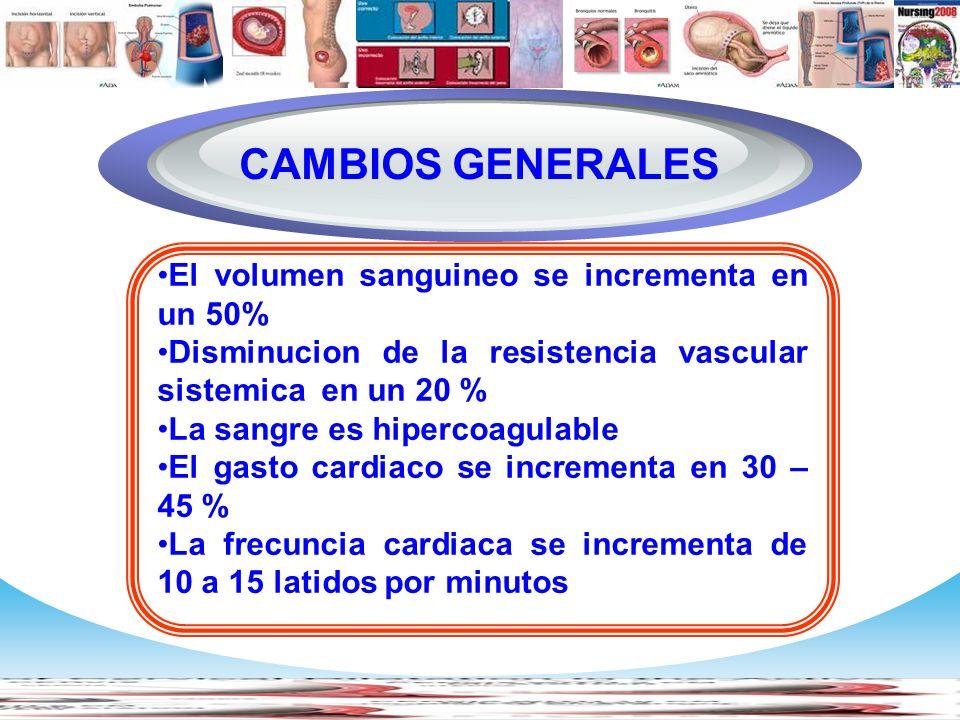 Diagram CAMBIOS GENERALES El volumen sanguineo se incrementa en un 50%