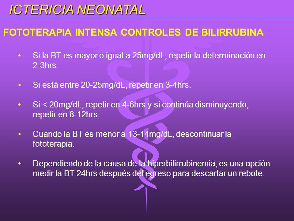 ICTERICIA NEONATAL FOTOTERAPIA INTENSA CONTROLES DE BILIRRUBINA