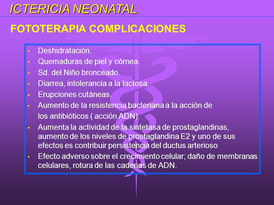 ICTERICIA NEONATAL FOTOTERAPIA COMPLICACIONES Deshidratación.