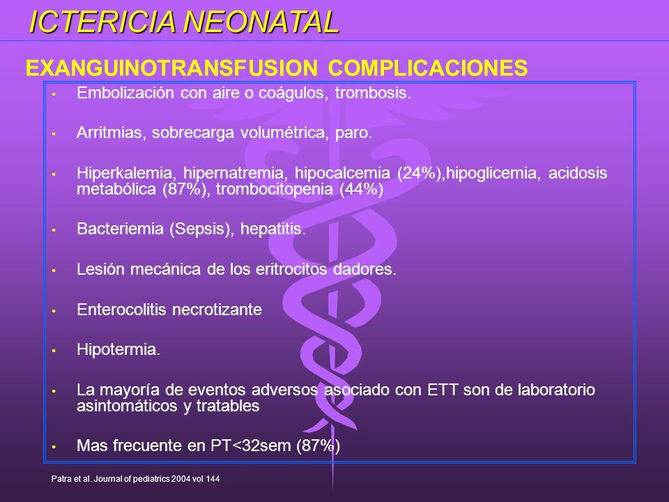 ICTERICIA NEONATAL EXANGUINOTRANSFUSION COMPLICACIONES