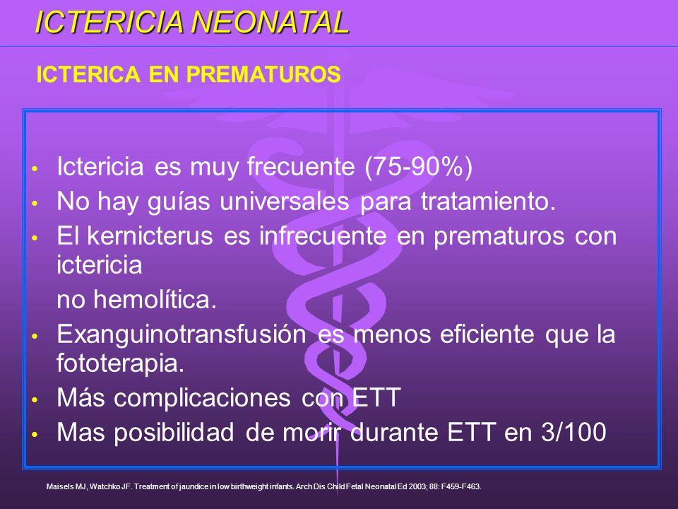ICTERICIA NEONATAL Ictericia es muy frecuente (75-90%)