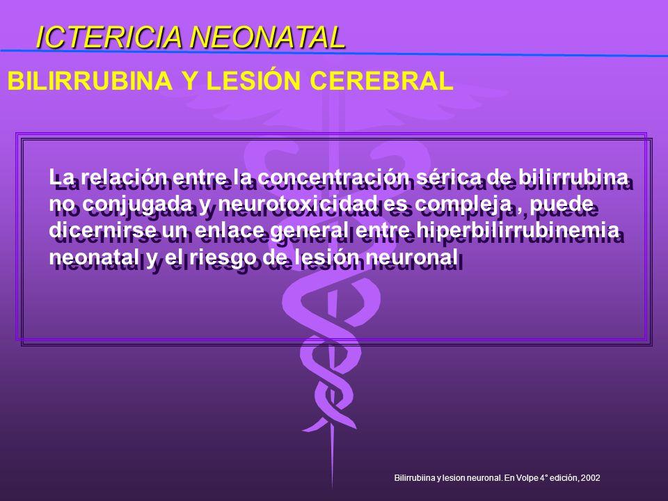 ICTERICIA NEONATAL BILIRRUBINA Y LESIÓN CEREBRAL
