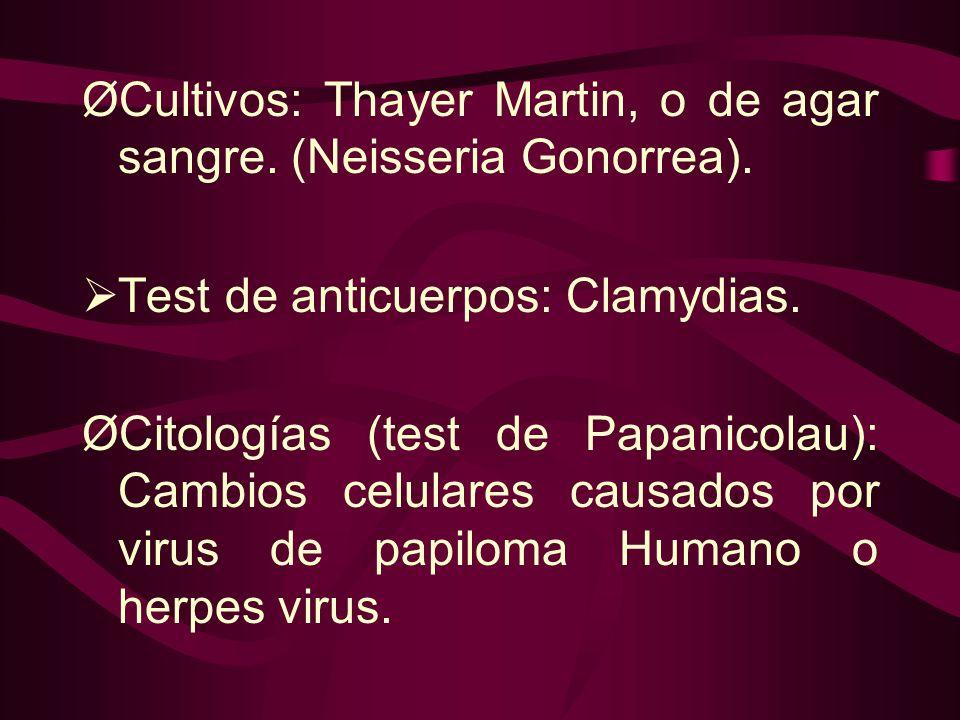 ØCultivos: Thayer Martin, o de agar sangre. (Neisseria Gonorrea).