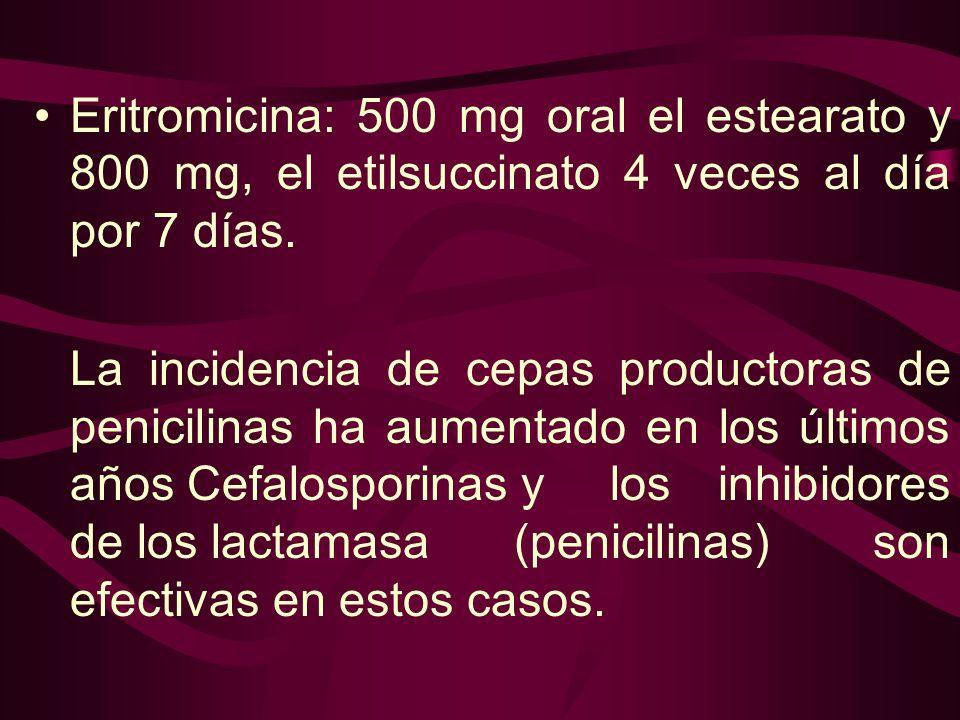 Eritromicina: 500 mg oral el estearato y 800 mg, el etilsuccinato 4 veces al día por 7 días.