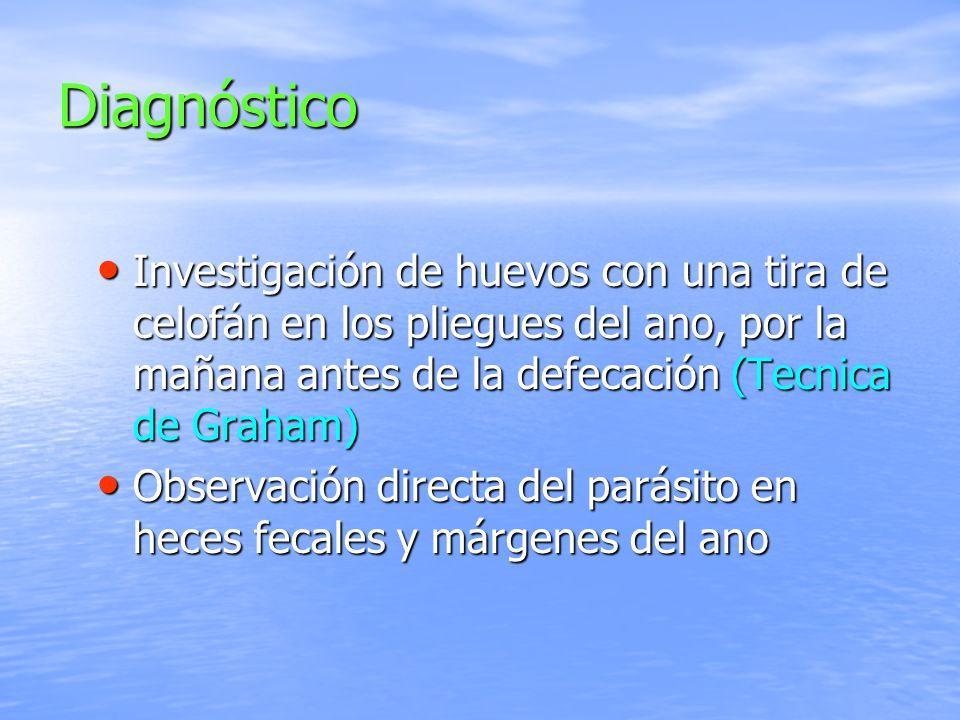 Diagnóstico Investigación de huevos con una tira de celofán en los pliegues del ano, por la mañana antes de la defecación (Tecnica de Graham)