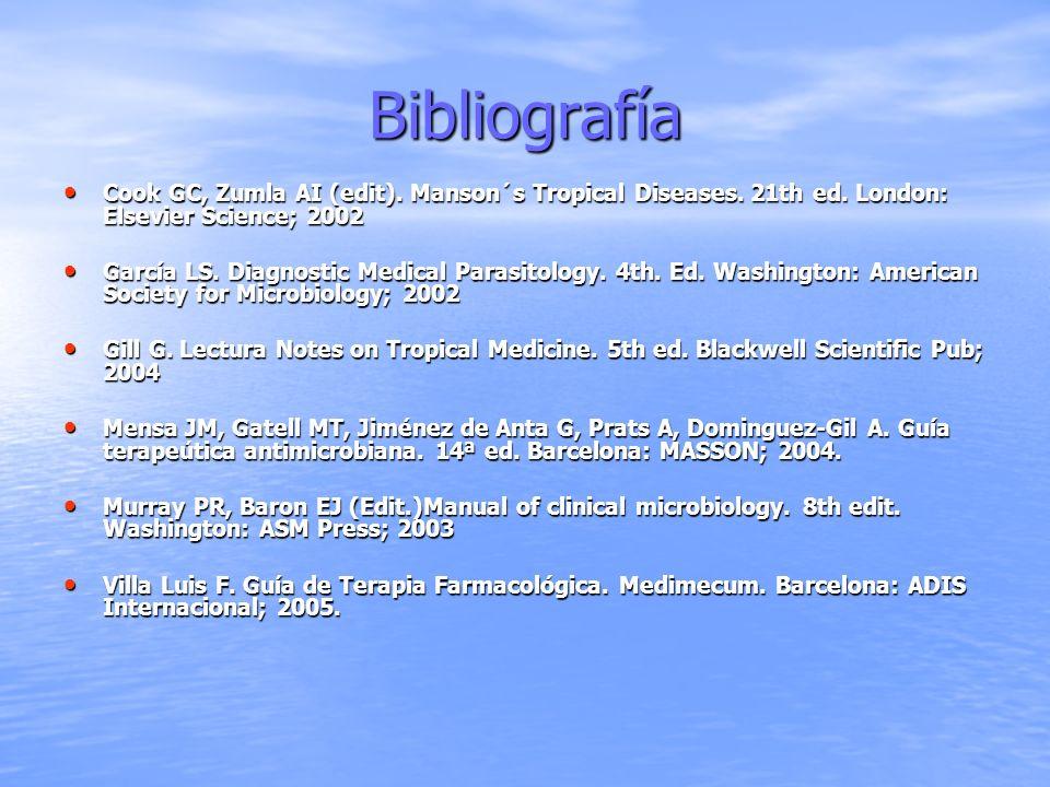 BibliografíaCook GC, Zumla AI (edit). Manson´s Tropical Diseases. 21th ed. London: Elsevier Science; 2002.