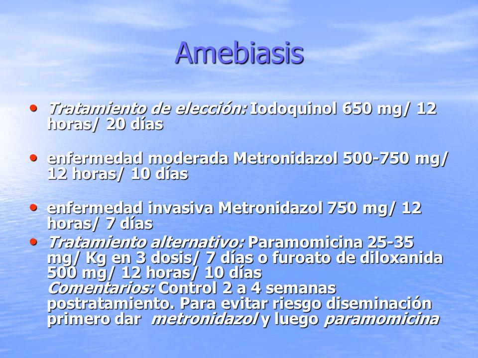AmebiasisTratamiento de elección: Iodoquinol 650 mg/ 12 horas/ 20 días. enfermedad moderada Metronidazol 500-750 mg/ 12 horas/ 10 días.