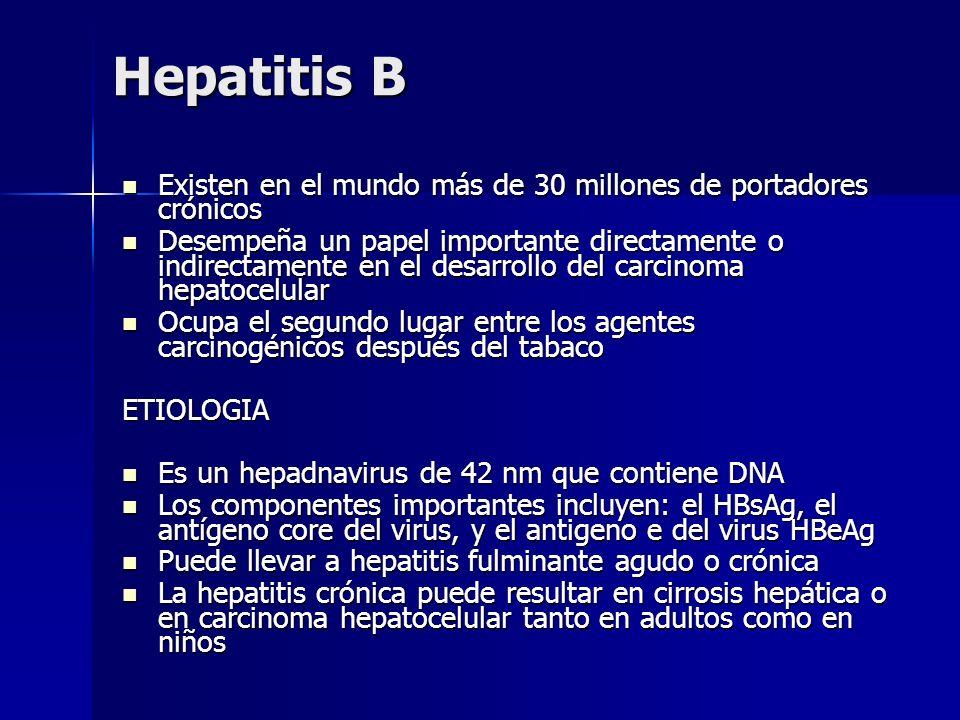 Hepatitis B Existen en el mundo más de 30 millones de portadores crónicos.