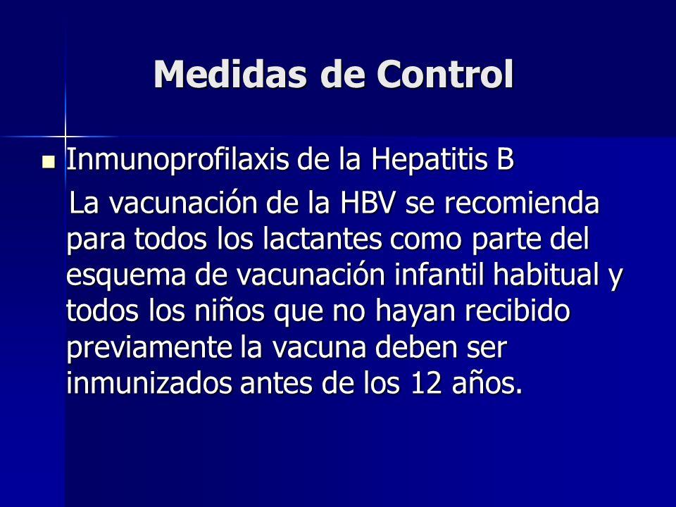 Medidas de Control Inmunoprofilaxis de la Hepatitis B