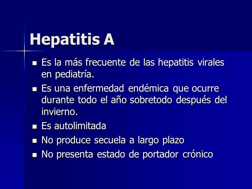 Hepatitis A Es la más frecuente de las hepatitis virales en pediatría.