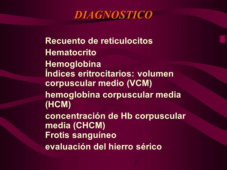 DIAGNOSTICO Recuento de reticulocitos Hematocrito