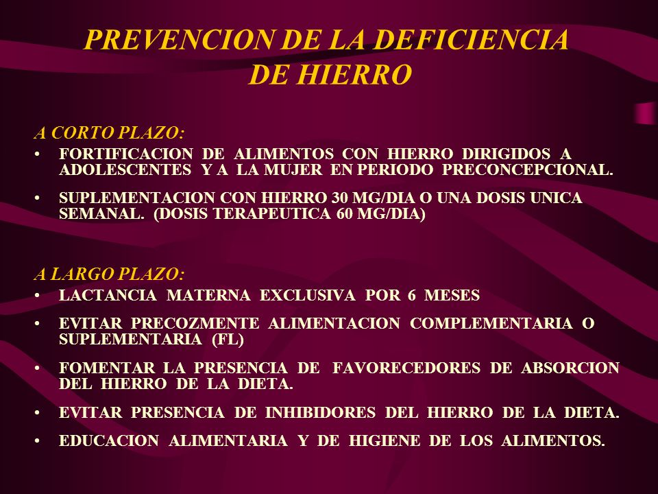 PREVENCION DE LA DEFICIENCIA DE HIERRO