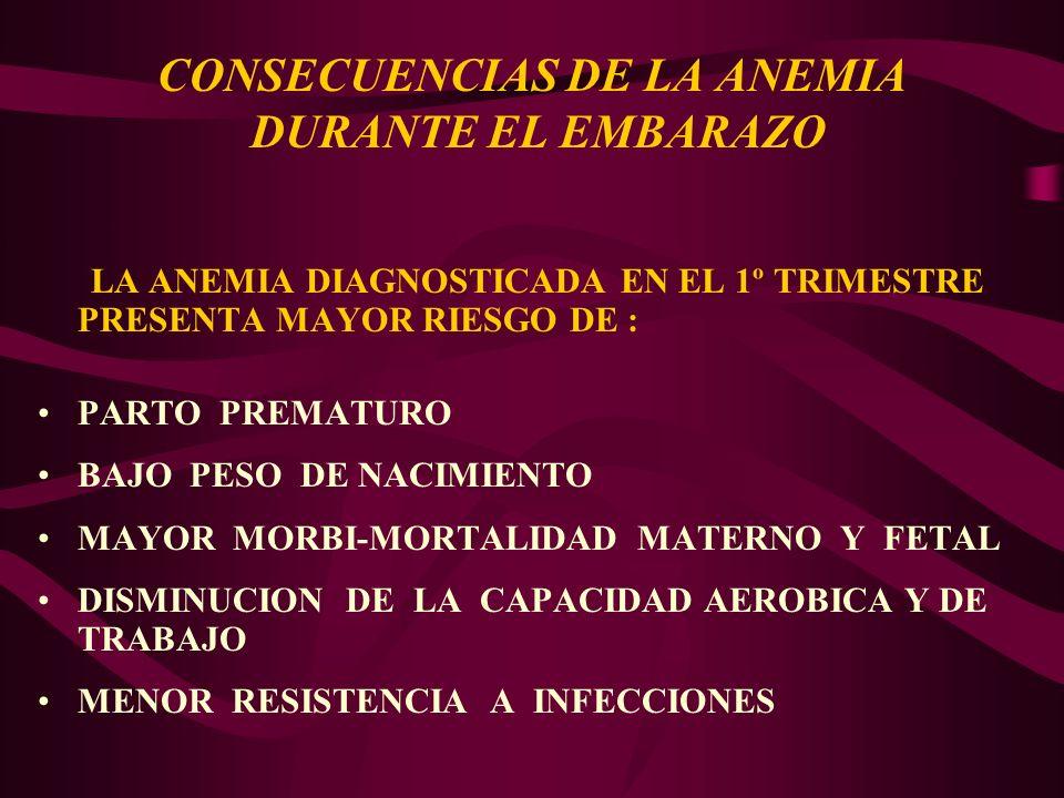CONSECUENCIAS DE LA ANEMIA DURANTE EL EMBARAZO