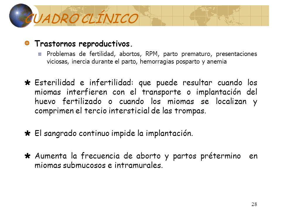 CUADRO CLÍNICO Trastornos reproductivos.