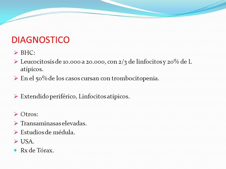 DIAGNOSTICO BHC: Leucocitosis de 10.000 a 20.000, con 2/3 de linfocitos y 20% de L atípicos. En el 50% de los casos cursan con trombocitopenia.