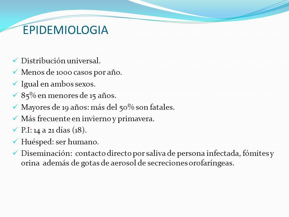 EPIDEMIOLOGIA Distribución universal. Menos de 1000 casos por año.