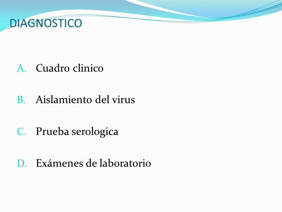 DIAGNOSTICO Cuadro clinico Aislamiento del virus Prueba serologica