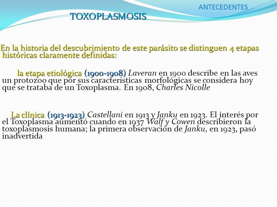 ANTECEDENTES TOXOPLASMOSIS. En la historia del descubrimiento de este parásito se distinguen 4 etapas históricas claramente definidas:
