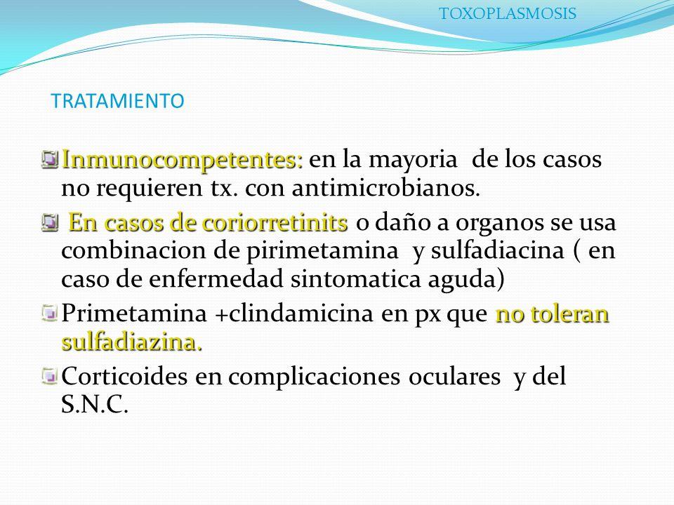Primetamina +clindamicina en px que no toleran sulfadiazina.