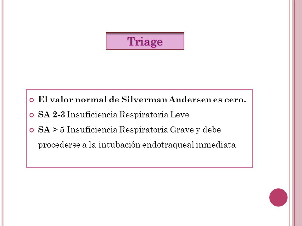 Triage El valor normal de Silverman Andersen es cero.