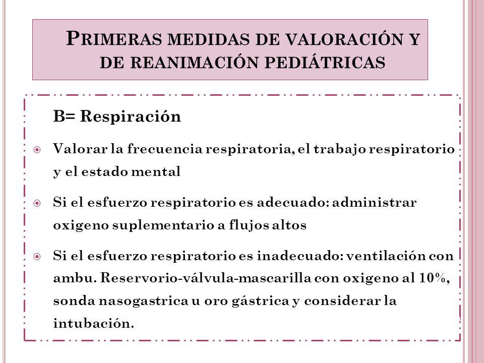 Primeras medidas de valoración y de reanimación pediátricas