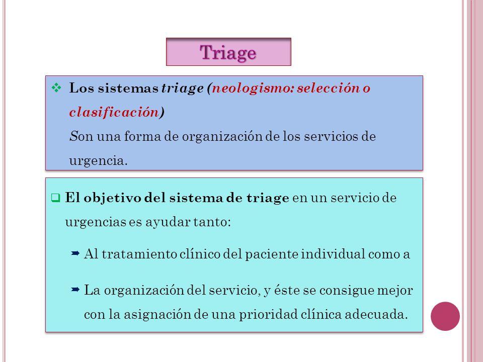 Triage Los sistemas triage (neologismo: selección o clasificación)