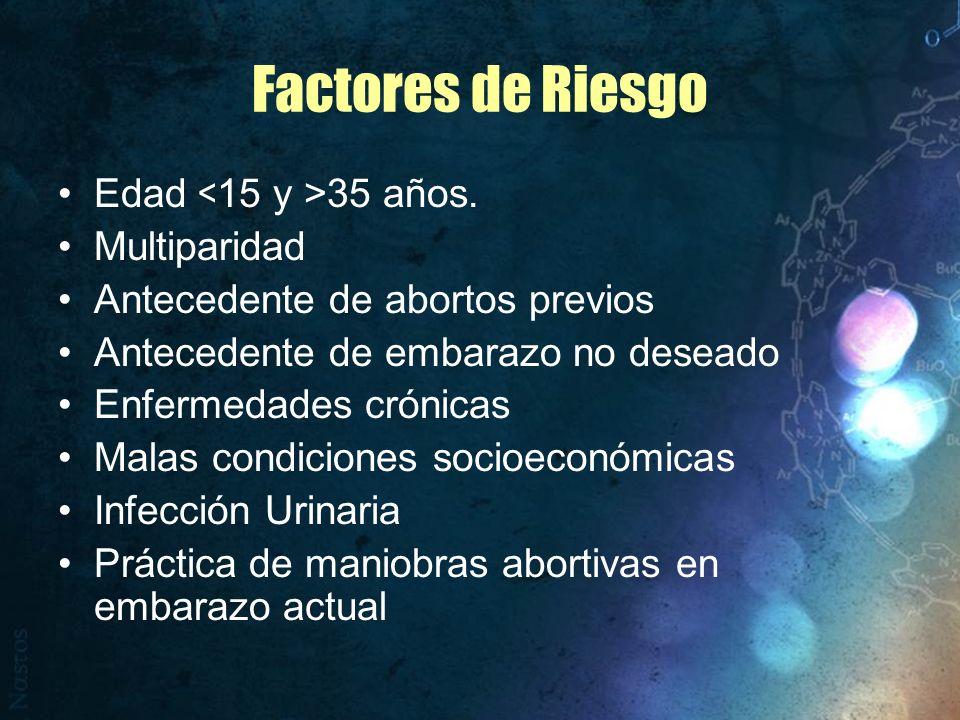 Factores de Riesgo Edad <15 y >35 años. Multiparidad