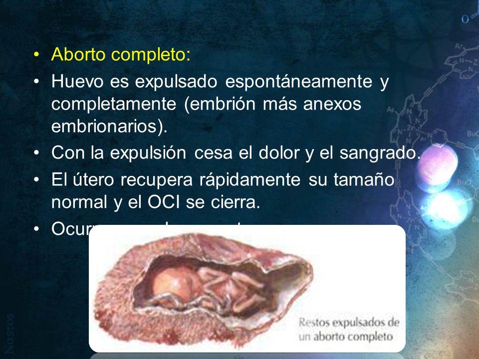 Aborto completo: Huevo es expulsado espontáneamente y completamente (embrión más anexos embrionarios).