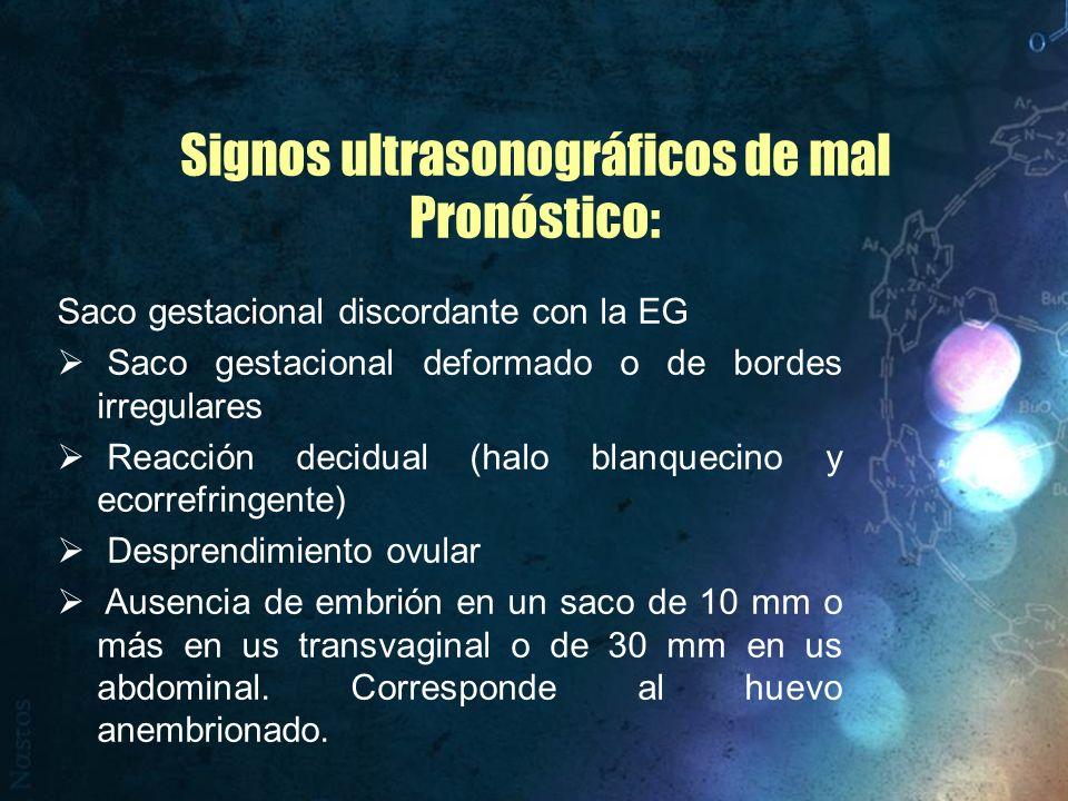 Signos ultrasonográficos de mal Pronóstico: