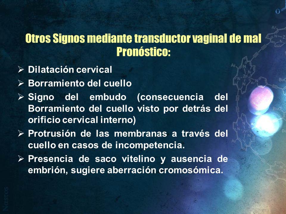 Otros Signos mediante transductor vaginal de mal Pronóstico: