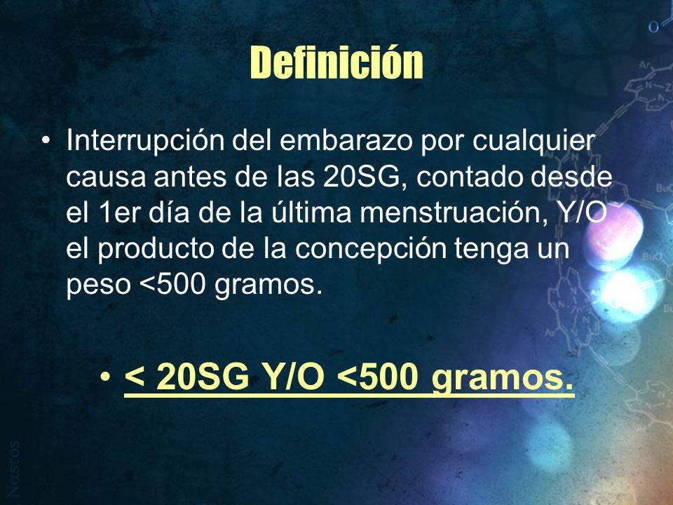 Definición < 20SG Y/O <500 gramos.