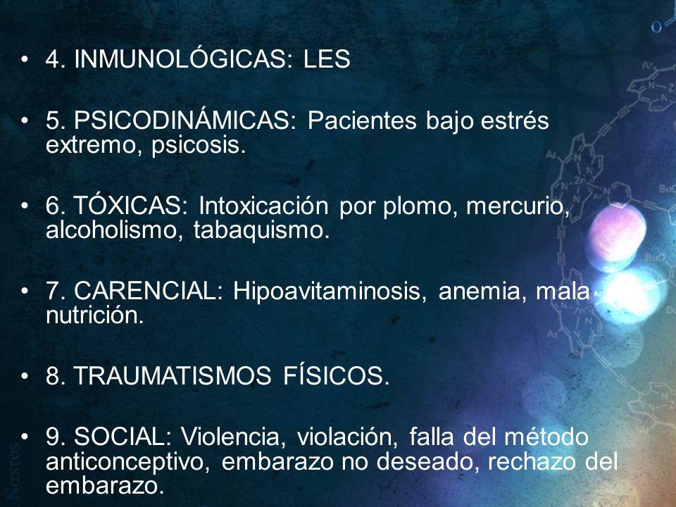 4. INMUNOLÓGICAS: LES 5. PSICODINÁMICAS: Pacientes bajo estrés extremo, psicosis.